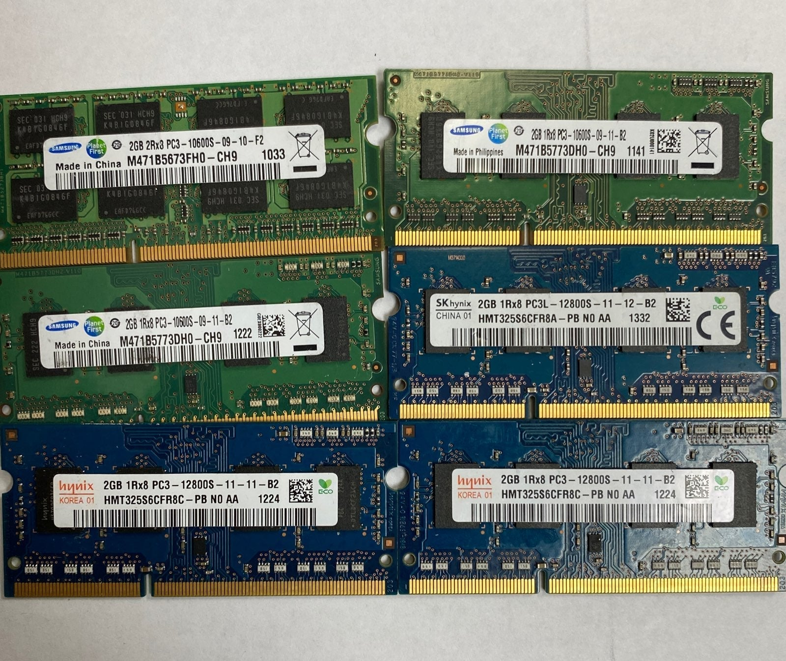 Lots of 6 LAPTOP MEMORY 12GB PC3 Tested