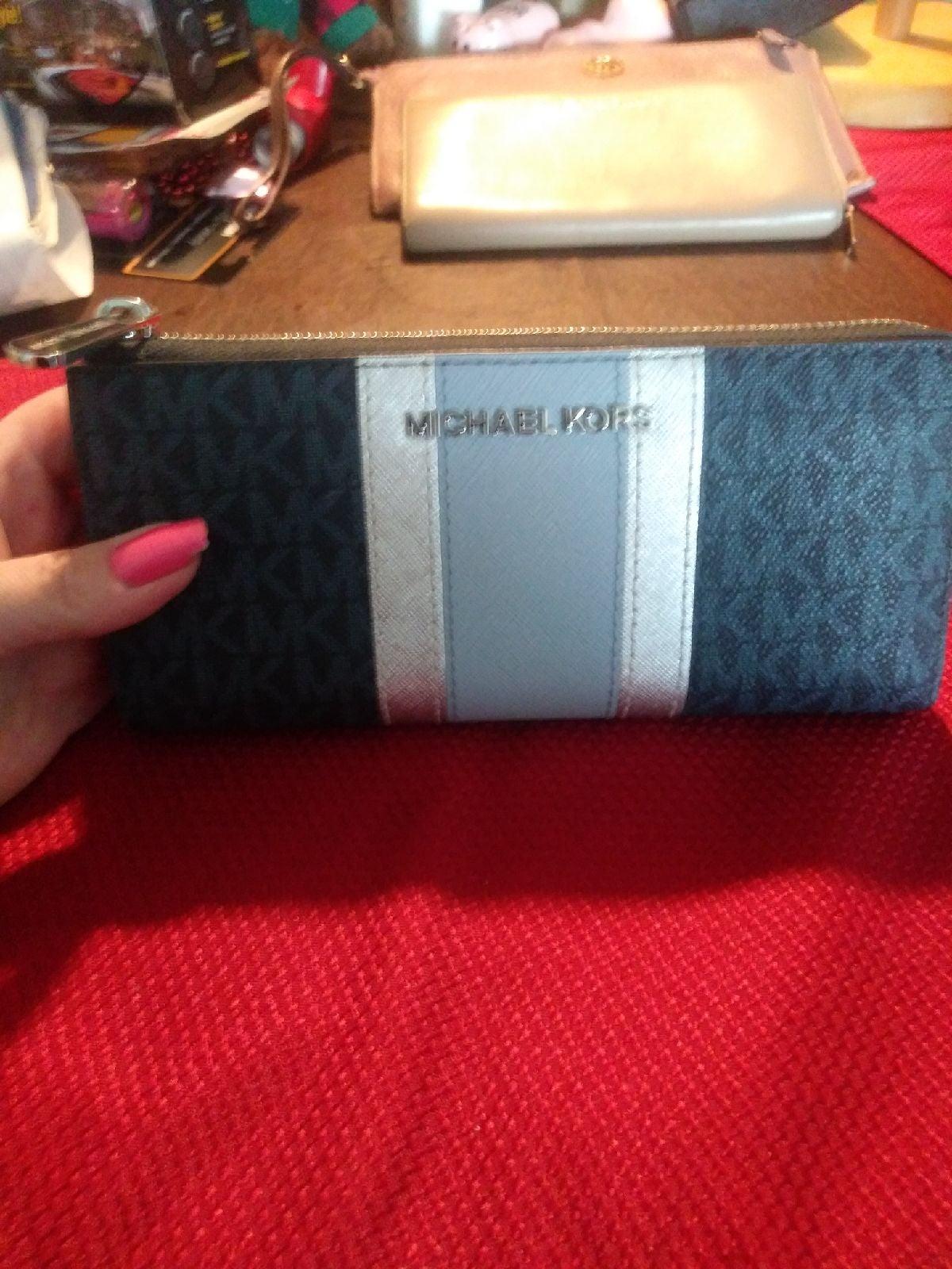 Michael Kors Grey Silver Blue Wallet