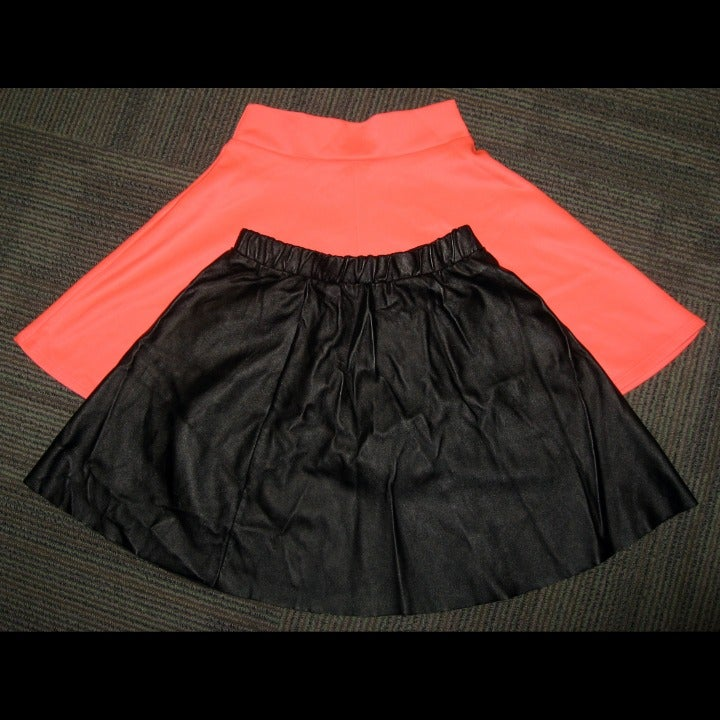 Coral Wet Seal and Black Faux Leather Mi