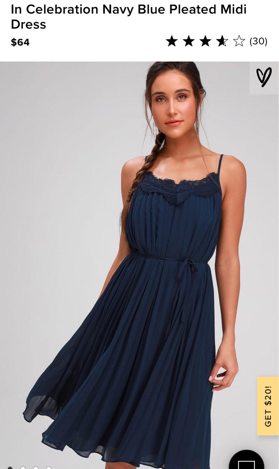 Navy Blue Pleated Midi Dress