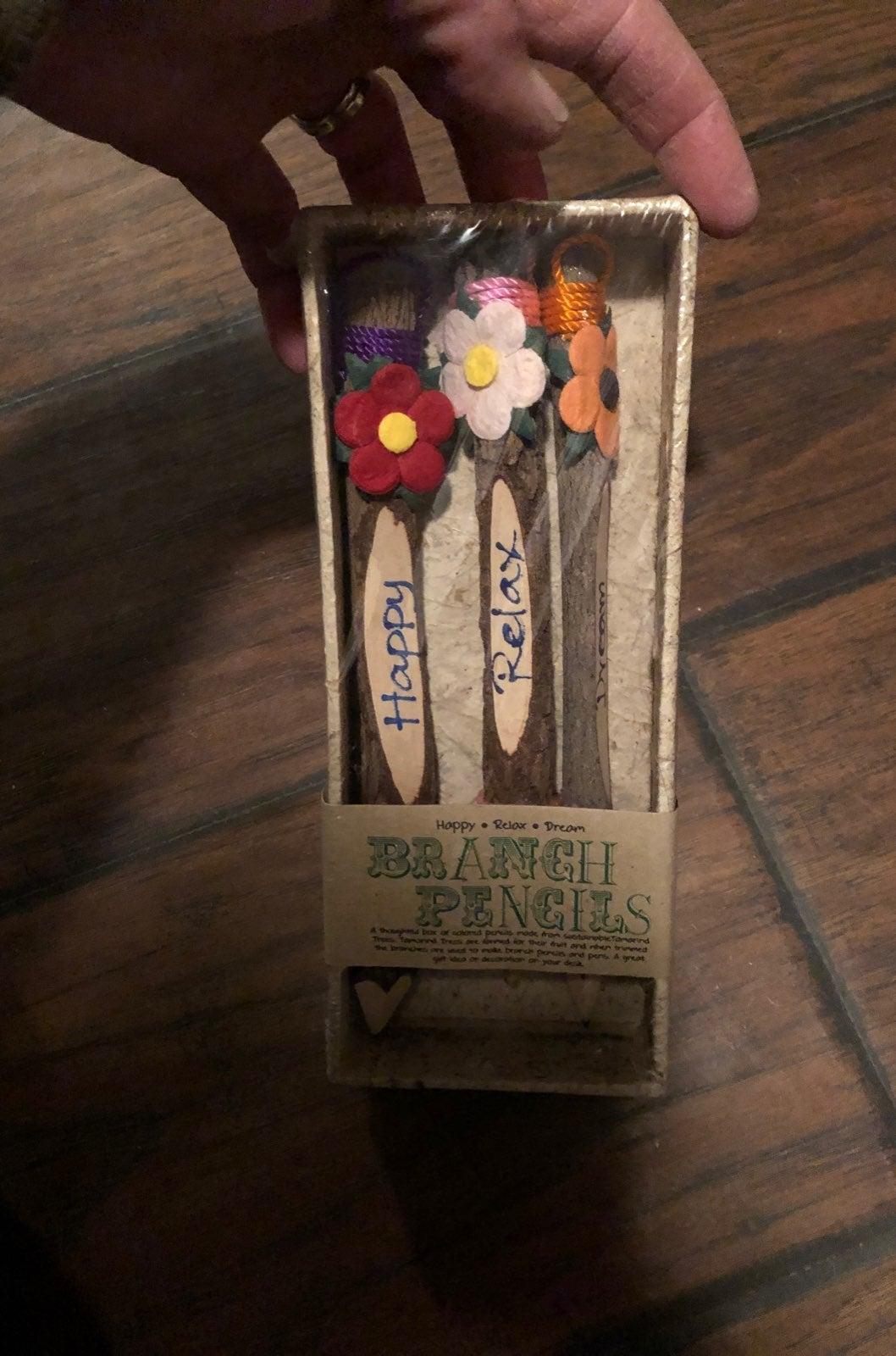 Wood branch pencils
