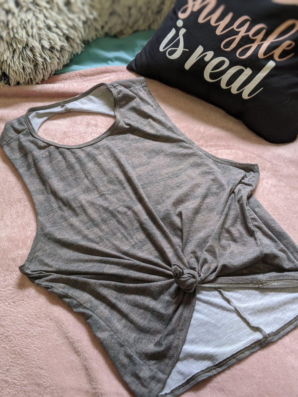 Women's camo sleeveless open back top