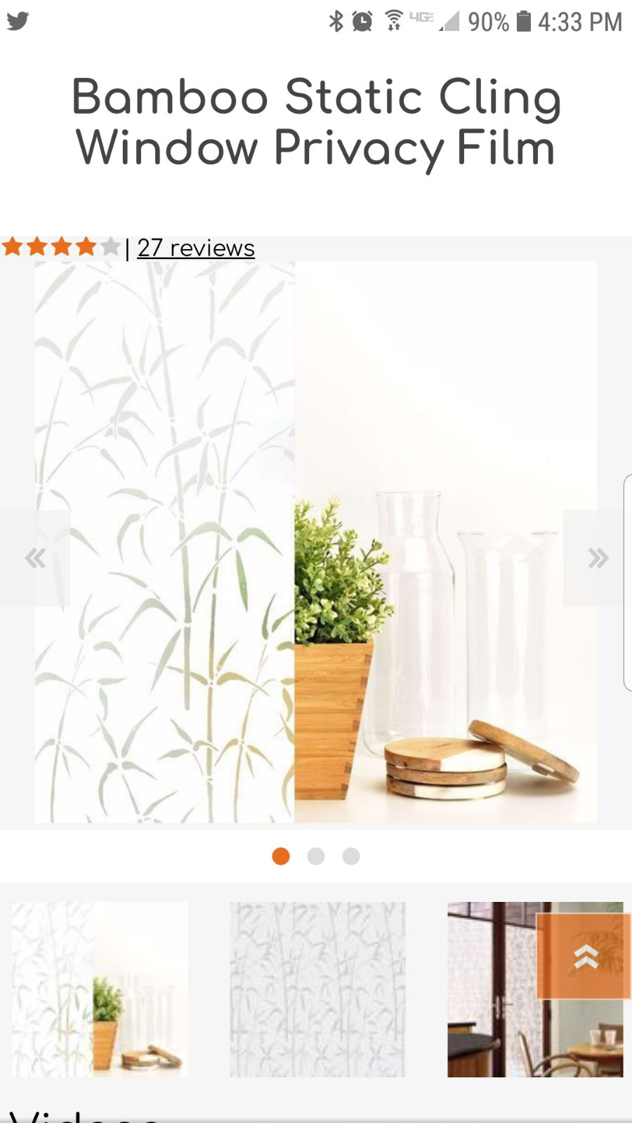 Glass Cling privacy film bamboo