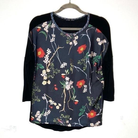 Zara Floral Viscose 3/4 Sleeve Blouse