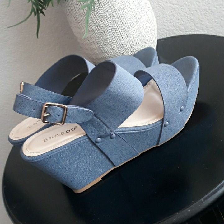 Wide strap blue wedge sandals size 10