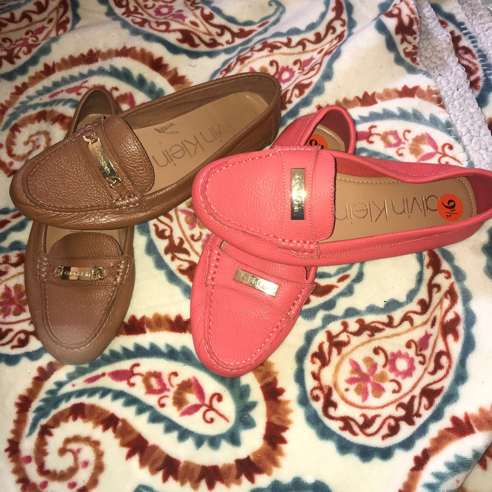 Calvin Klein Leather Loafers Brown Pink