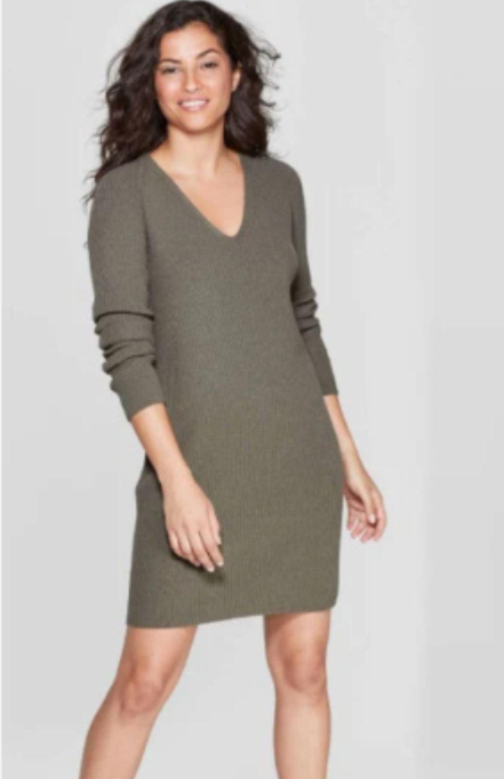 A New Day V-Neck Olive Sweater Dress XS
