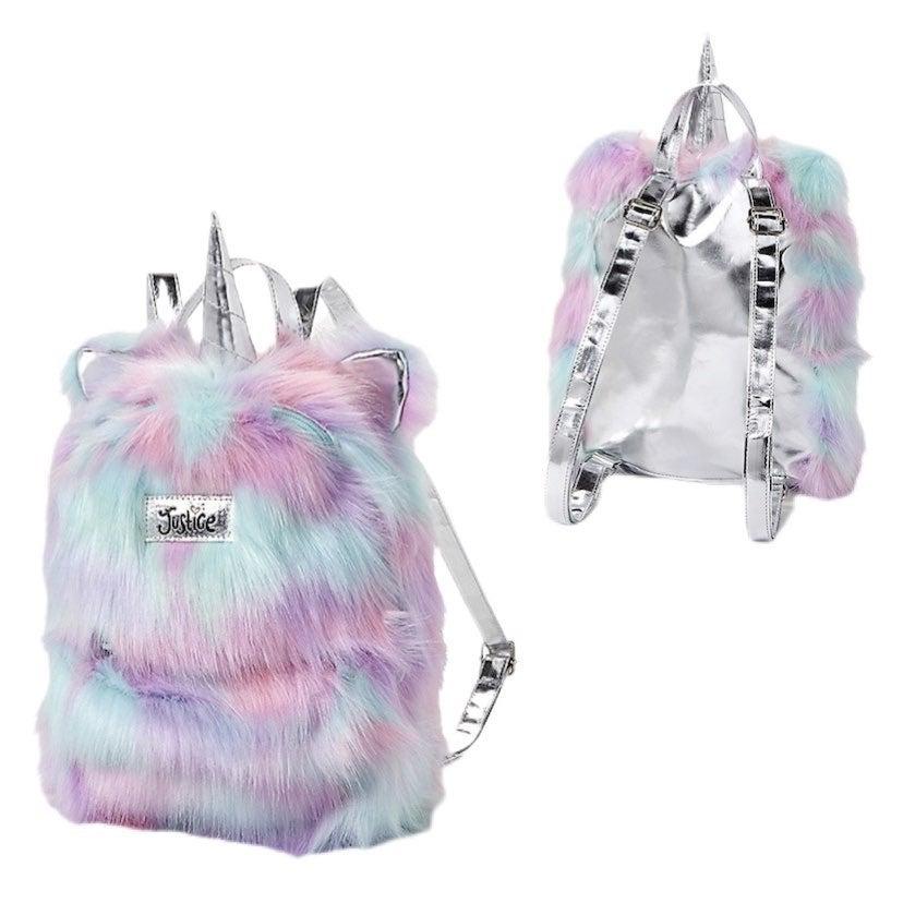 Justice Unicorn faux fur mini backpack
