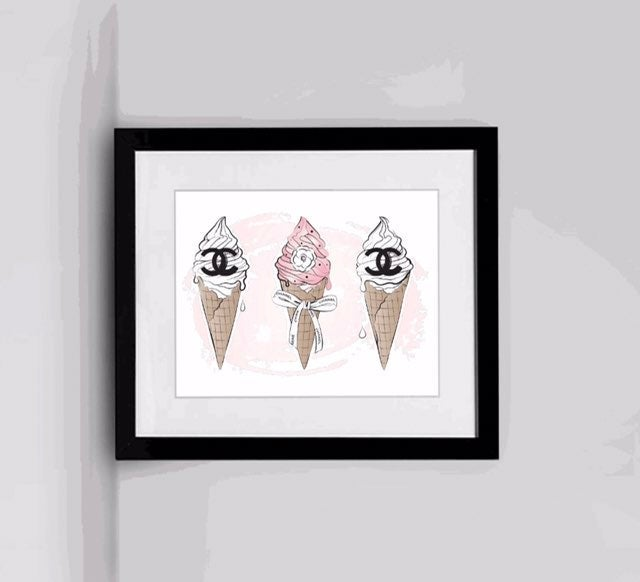 Framed icream wall art
