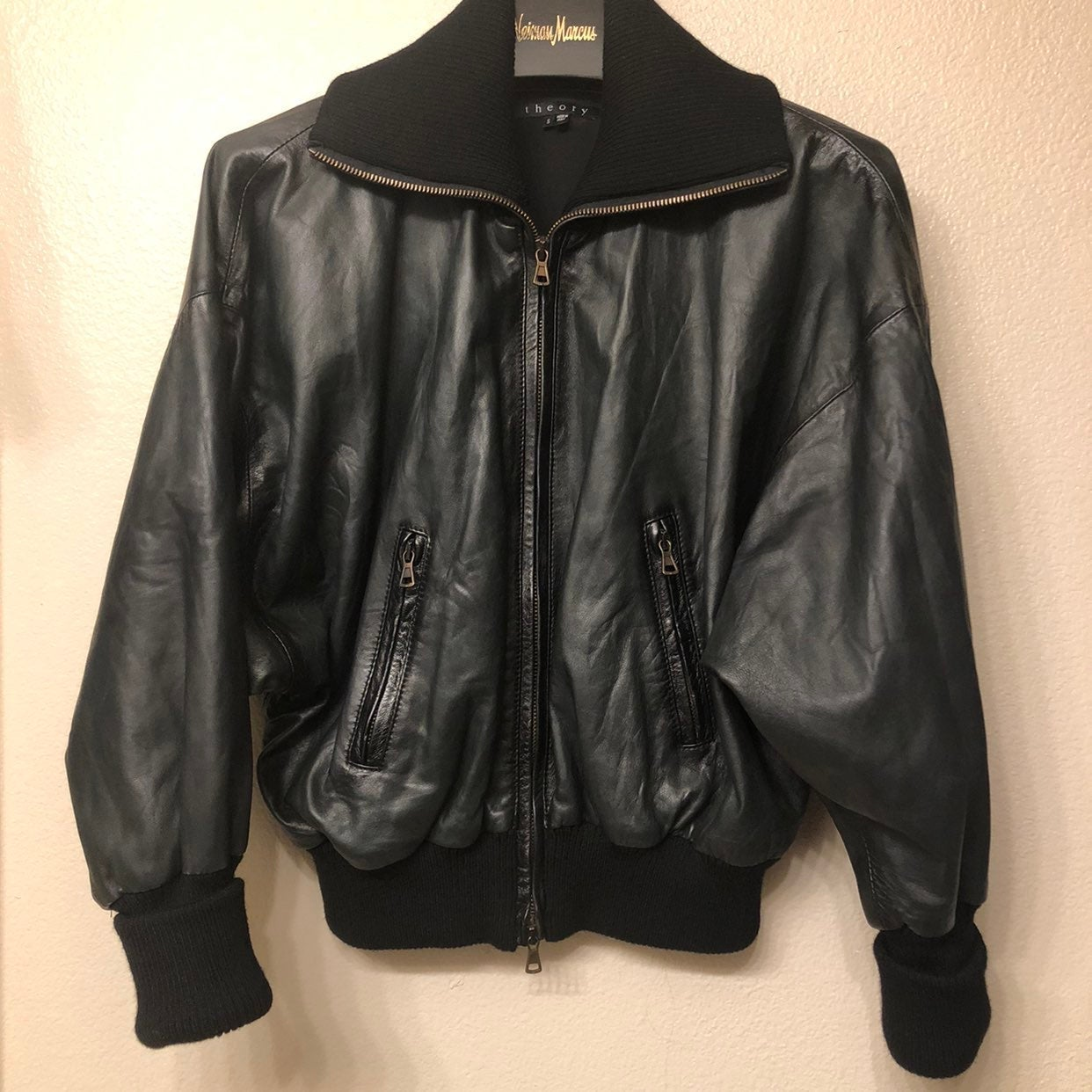 Theory Size S Leather Jacket Black