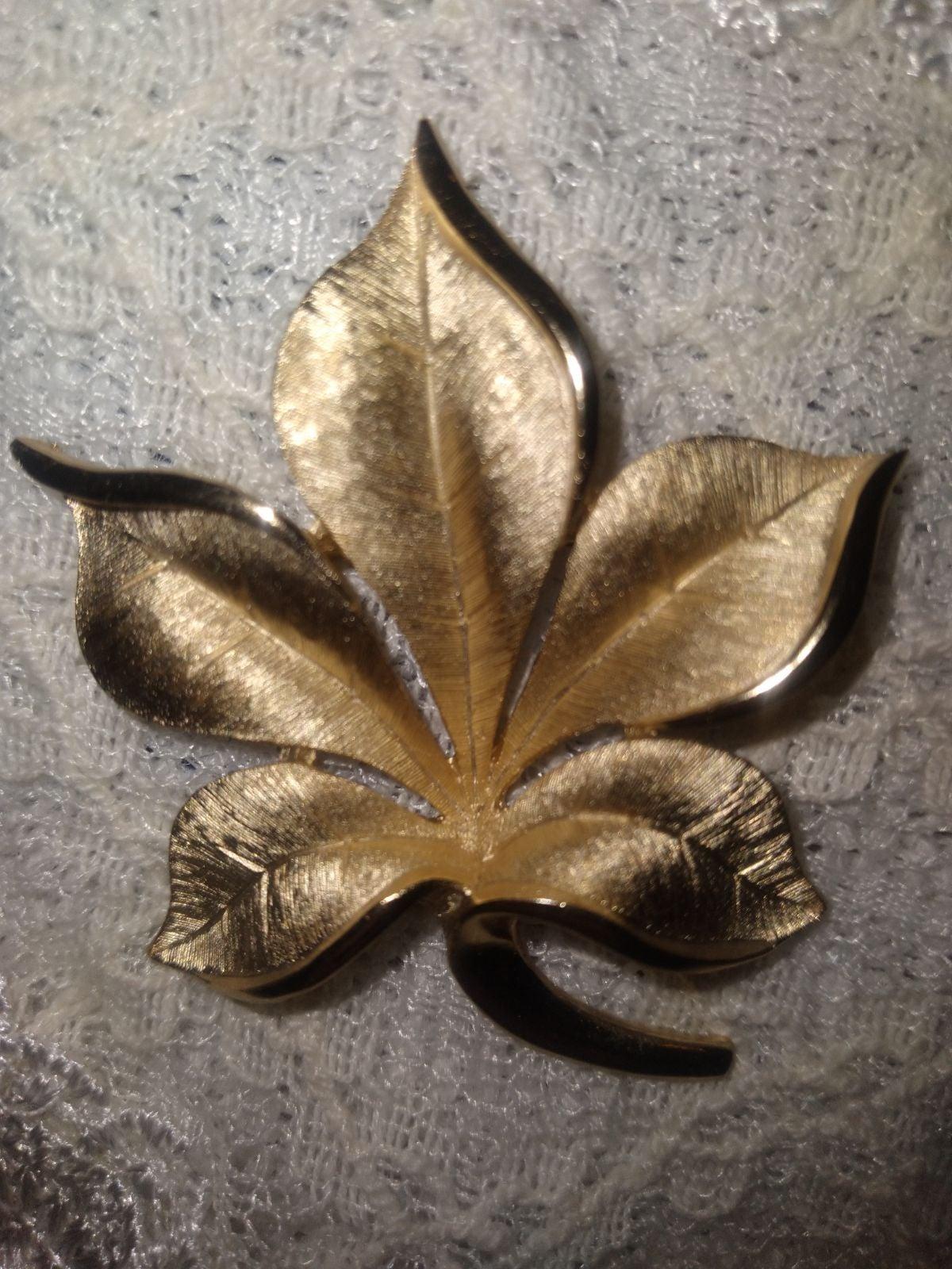 Vintage Trafari Leaf Brooch