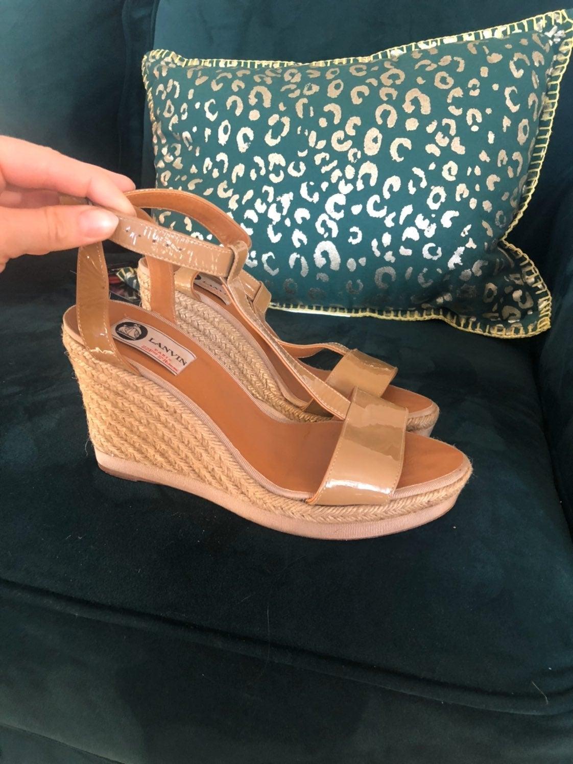 Lanvin Beige Patent Leather Espadrilles