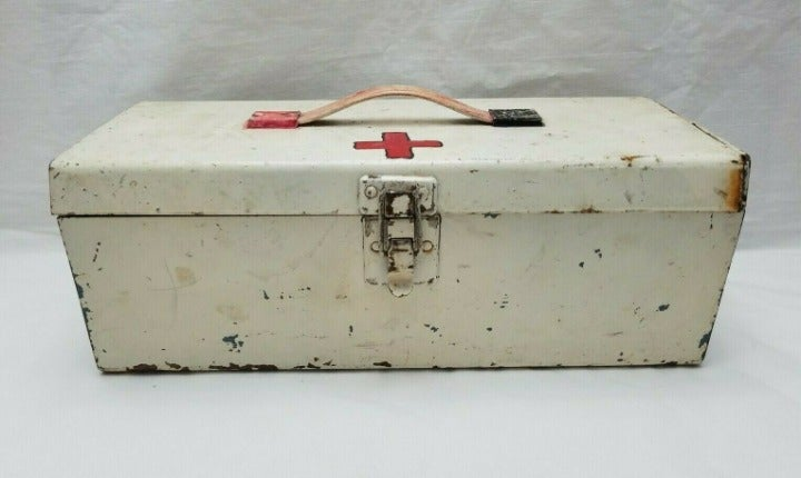 Vintage Metal First Aid Tool Lunch Box