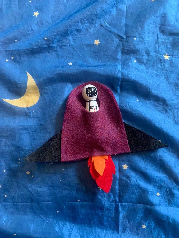 Handmade toddler toy astronaut & rocket
