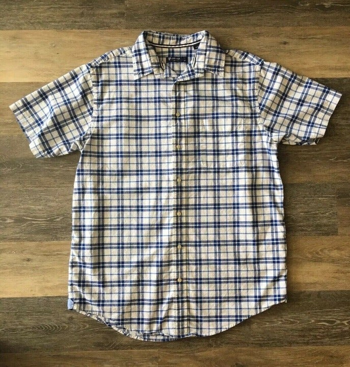 Mens Sort sleeve button up large plaid