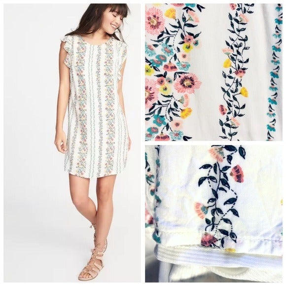 Old Navy Ruffle Trim Floral Shift Dress