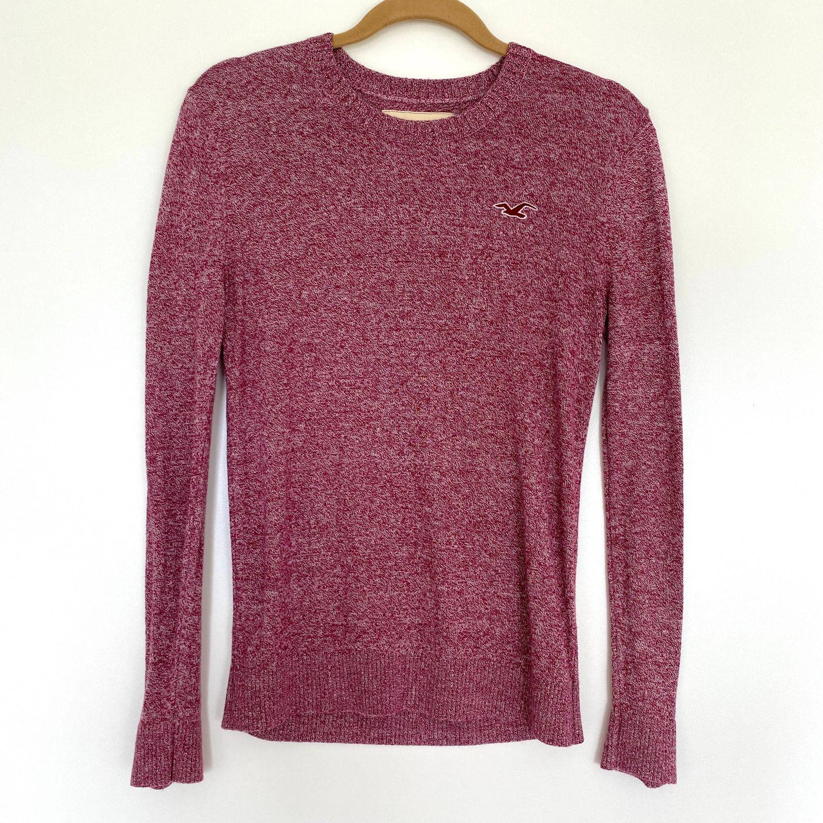 Hollister Burgundy Long Sleeve Sweater