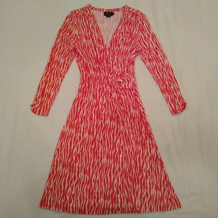Dress Faux Wrap Around Coral White M