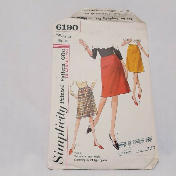 Misses A-Line Skirt 1965 Sewing Pattern