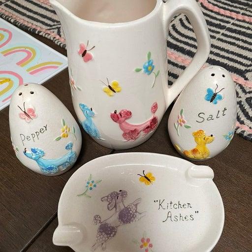 Ceramic poodle kitchen set
