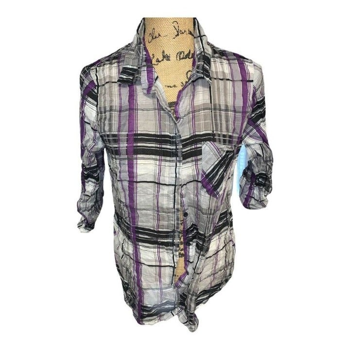 Gray and purple button up top size XXL