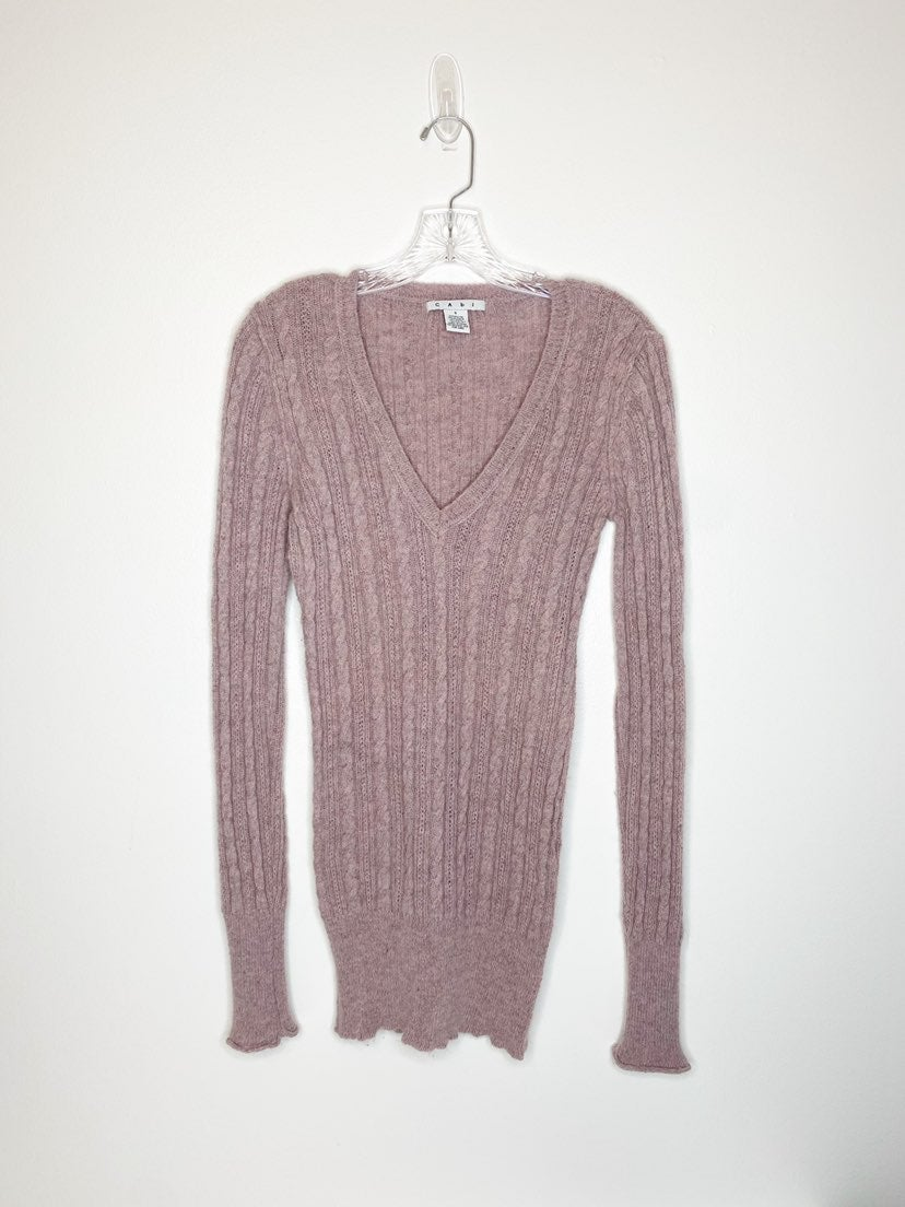CAbi Mohair Blend Cable Knit Sweater Sma