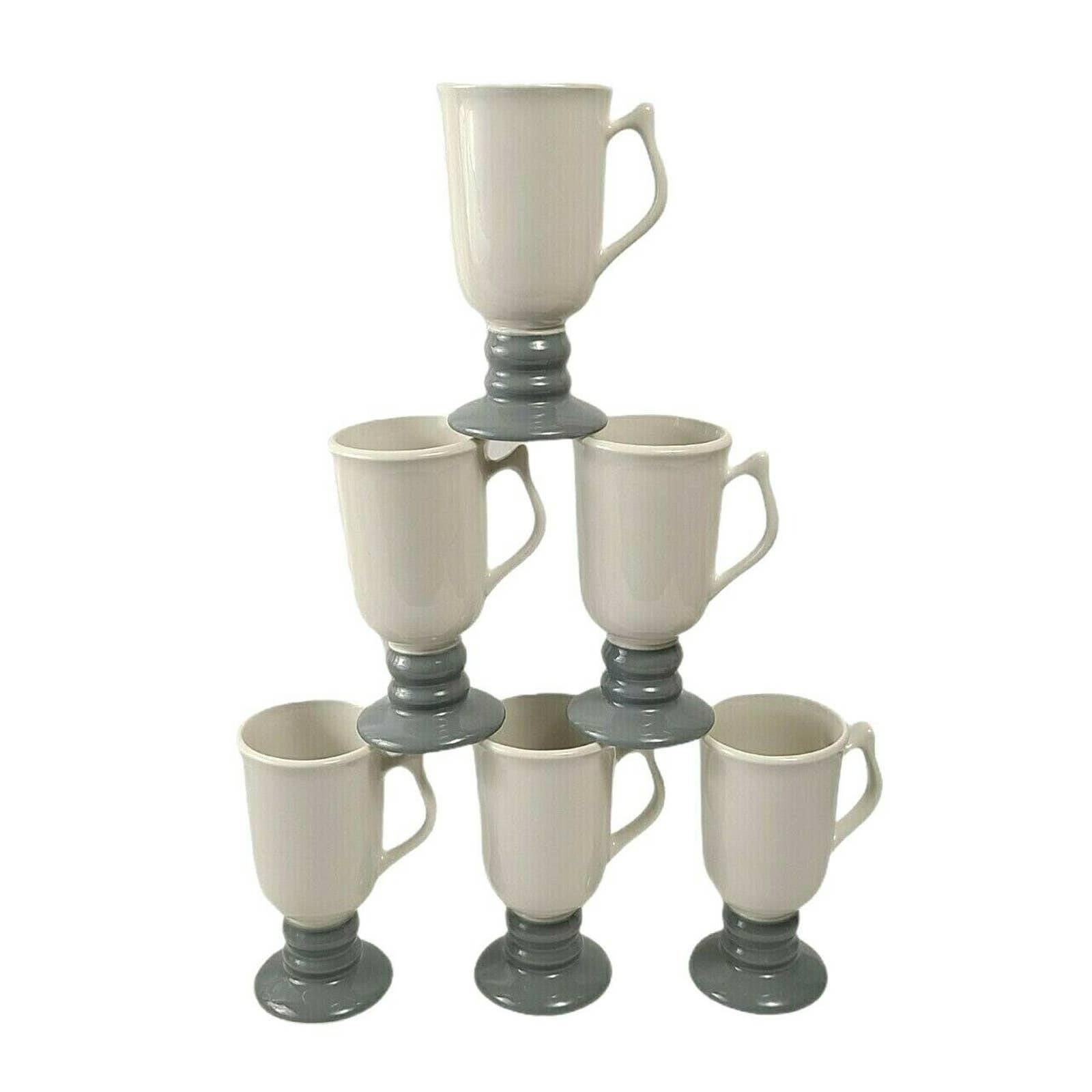 Vintage Hall Pedestal Mugs Gray Base Set