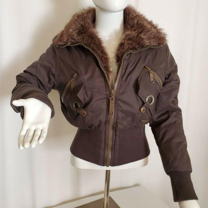 YMI Jeanswear Short Bomber Jacket Brown