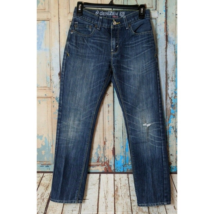 LEVI'S Denizen 216 Skinny Fit Boys Size 14 Reg Jeans Dark Wash 5 Pocket