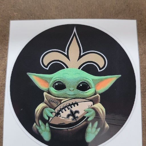 """3"""" New Orleans Saints Baby Yoda Decal"""