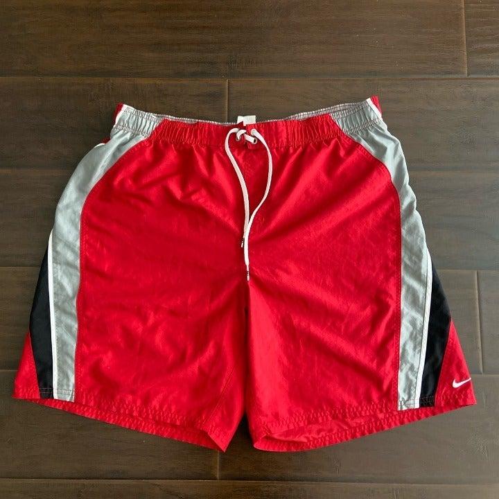 Y2K Nike swim trunks red XL