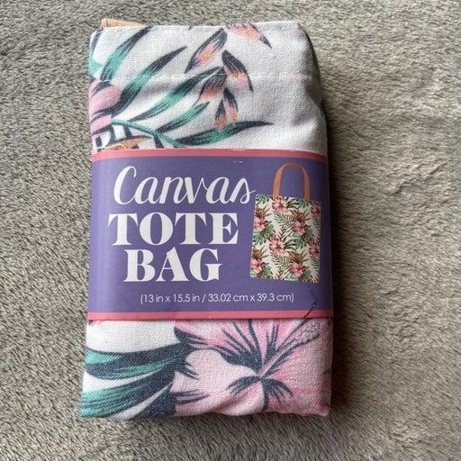 Pink Floral canvas tote bag