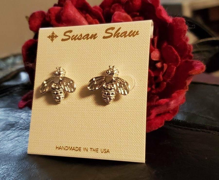 Silver Bee Earrings NEW Susan Shaw Jewel