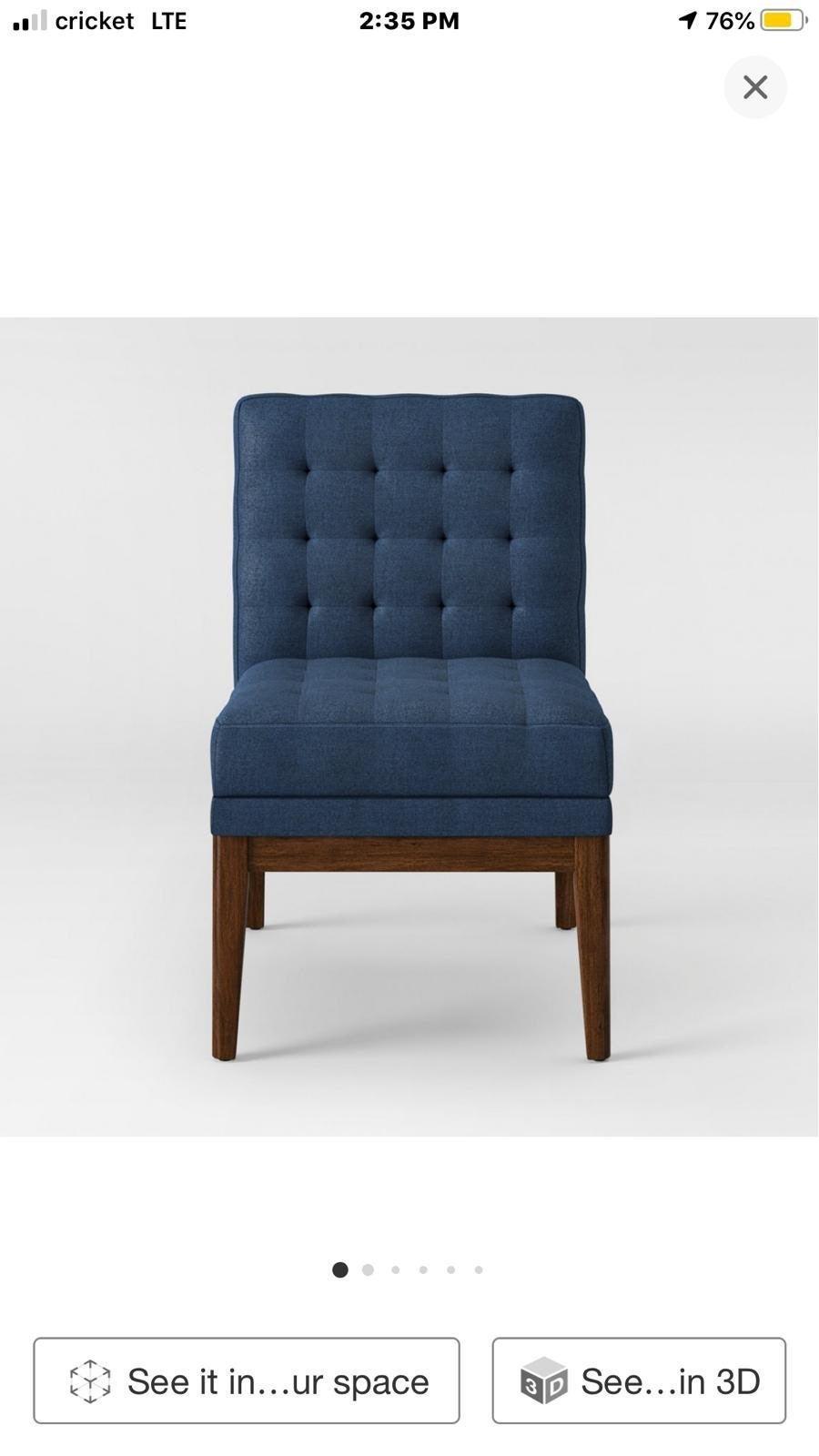 Newark Tufted Slipper Chair with Wood Ba