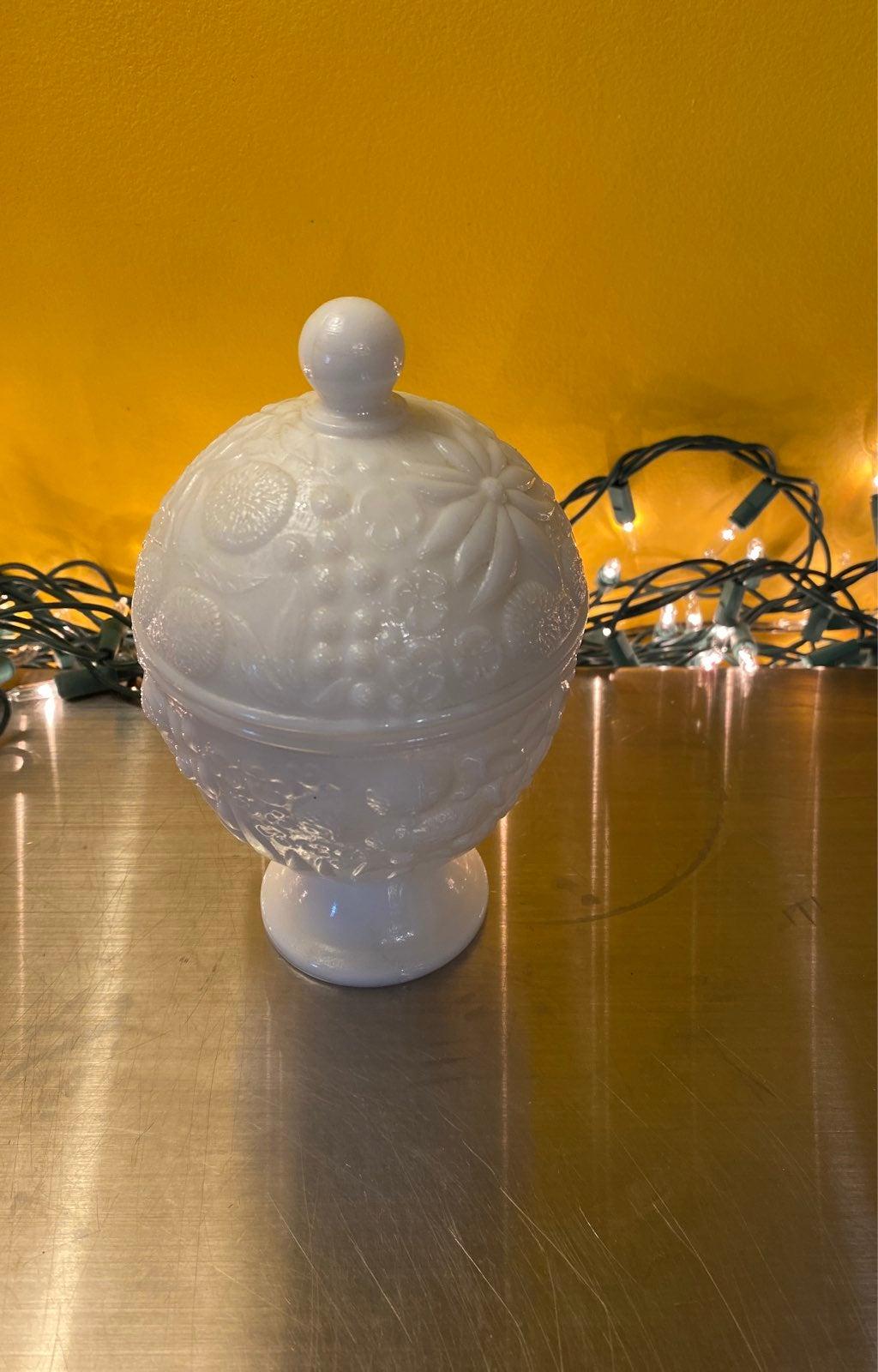 Avon milk glass lidded dish
