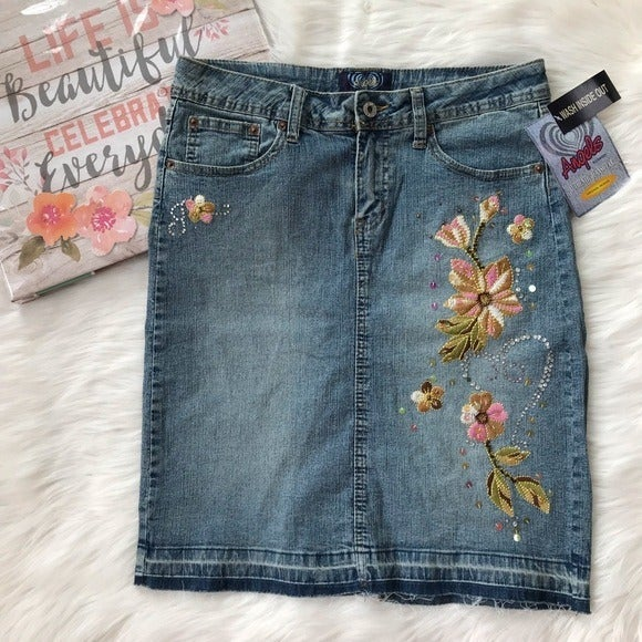 ANGELS Floral Embroidered Jean Skirts 9