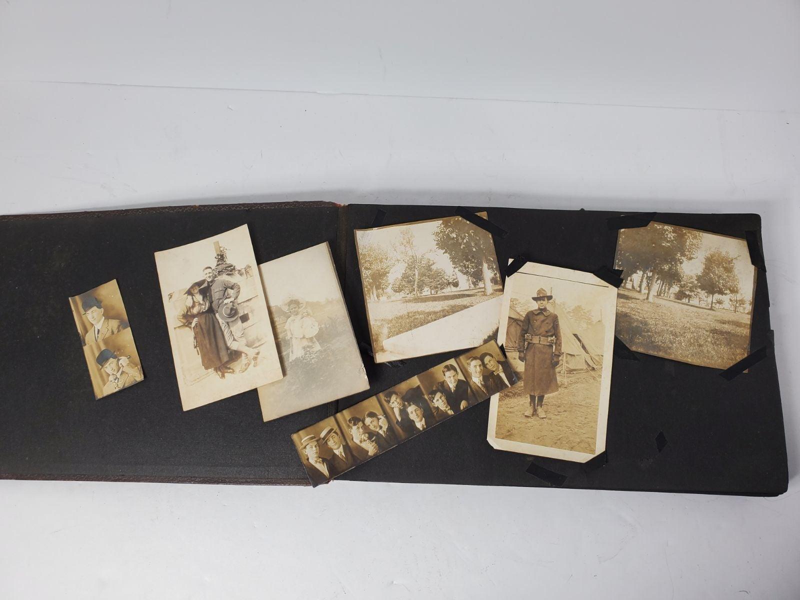 Antique Photo album 145 picture lot 1915