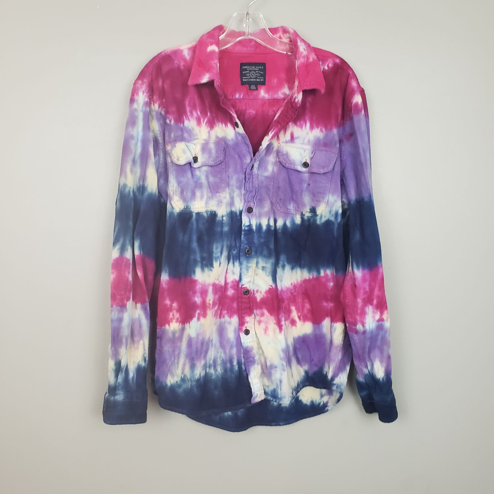 Mens Pink Plaid Tie Dye Button Down Top