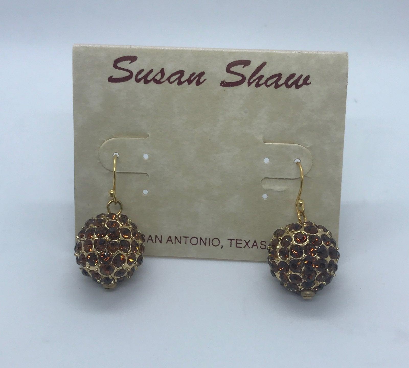 New Susan Shaw Brown Crystal Earrings