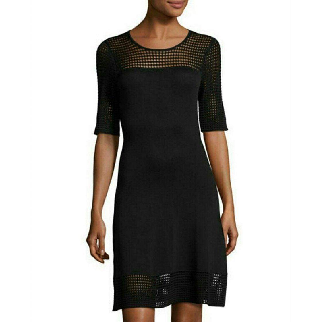 Nanette Lenore Knit Mesh Black Dress M