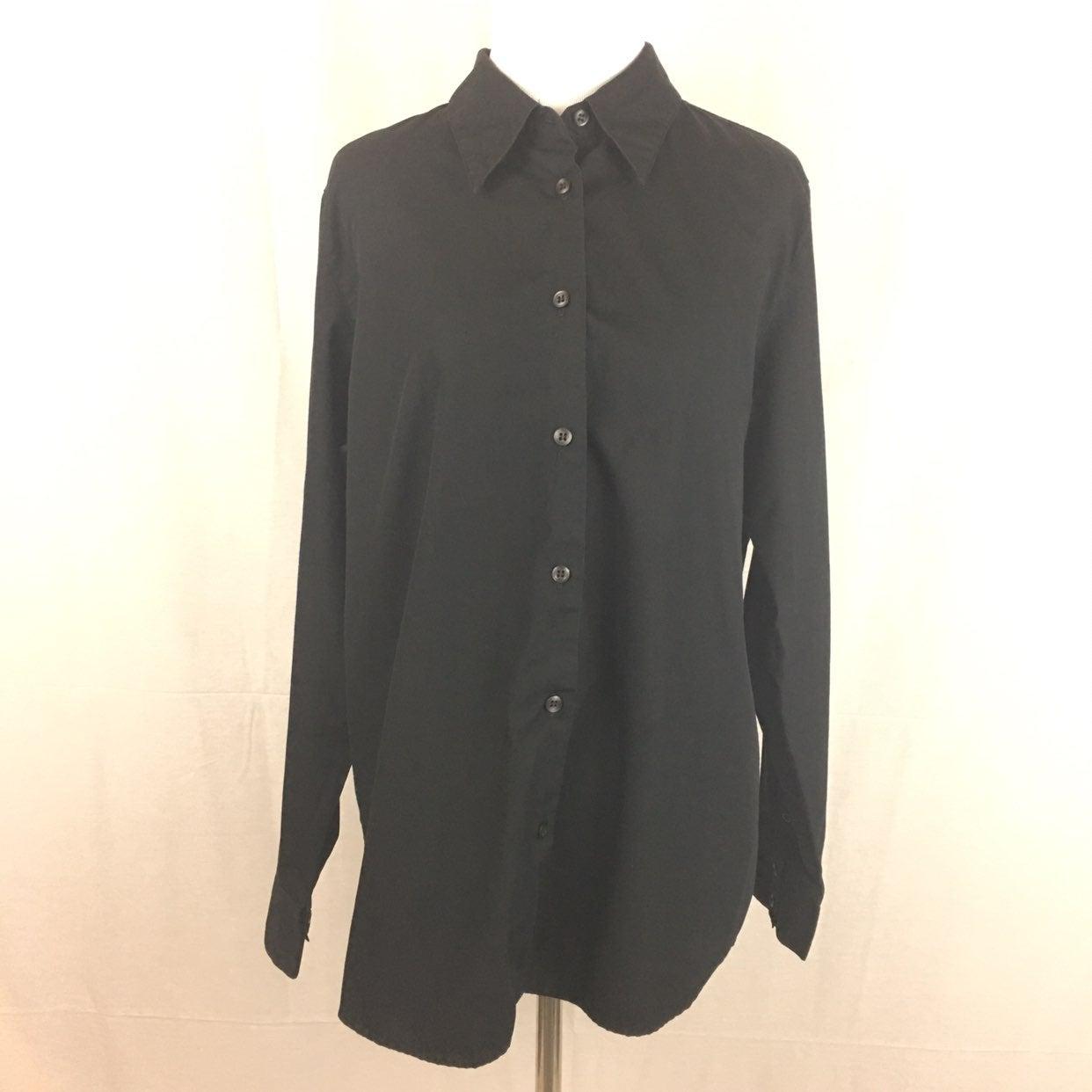 Karen Scott Black Button Down Shirt