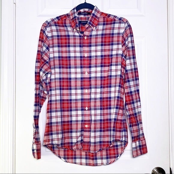 Gant Plaid Fitted Preppy Poplin Shirt