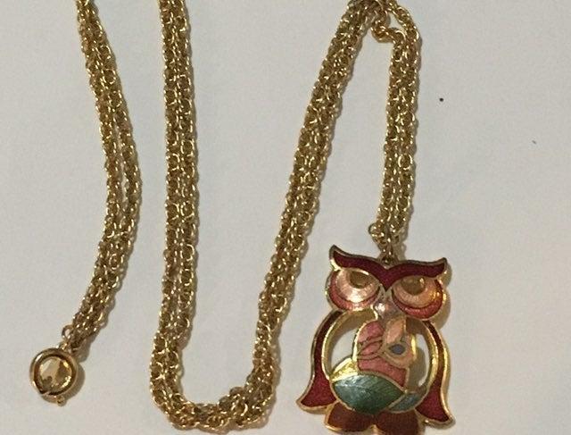 Vintage Colorful Enamel Owl Necklace