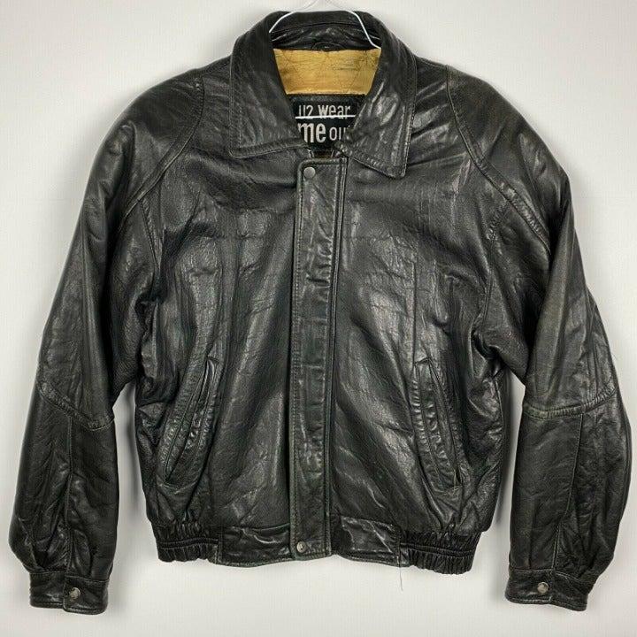 U2 WEAR ME OUT Black Leather Jacket Med