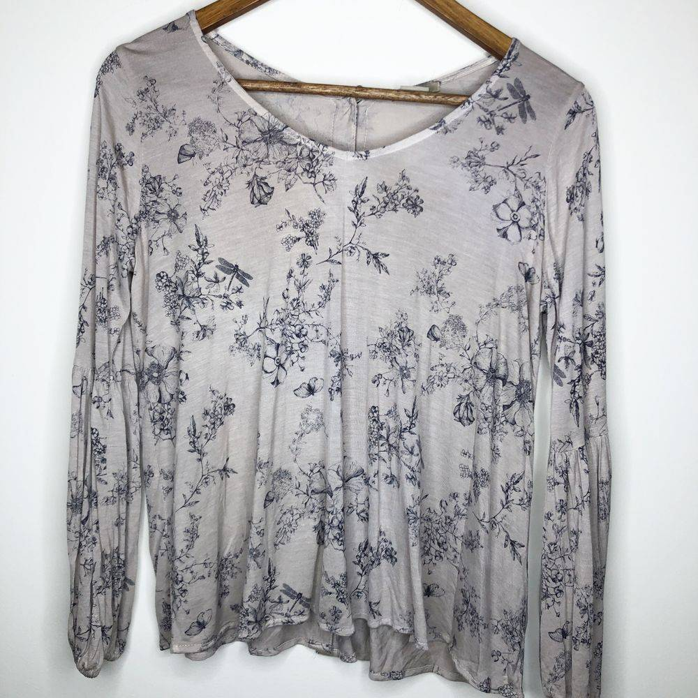Anthro Anama Floral Button Back Top, S
