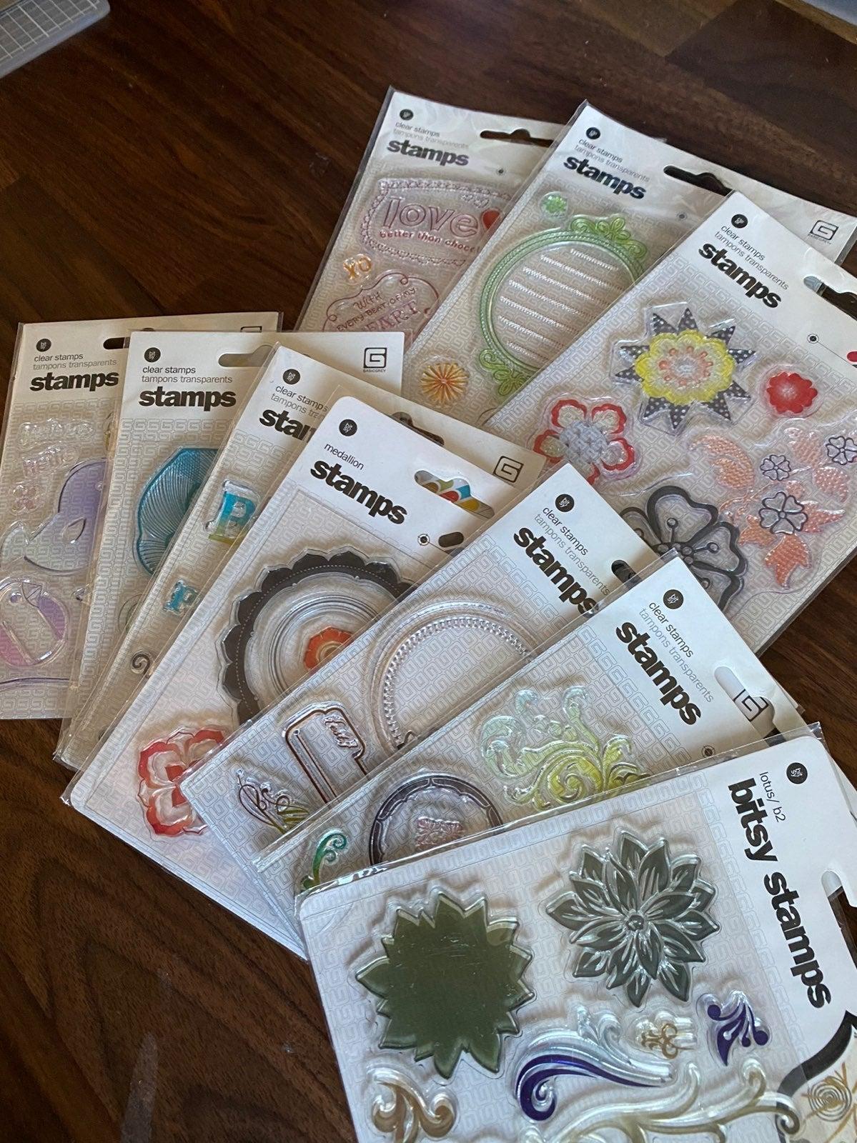 Acrylic Clear Stamps Bundle, Basic Grey