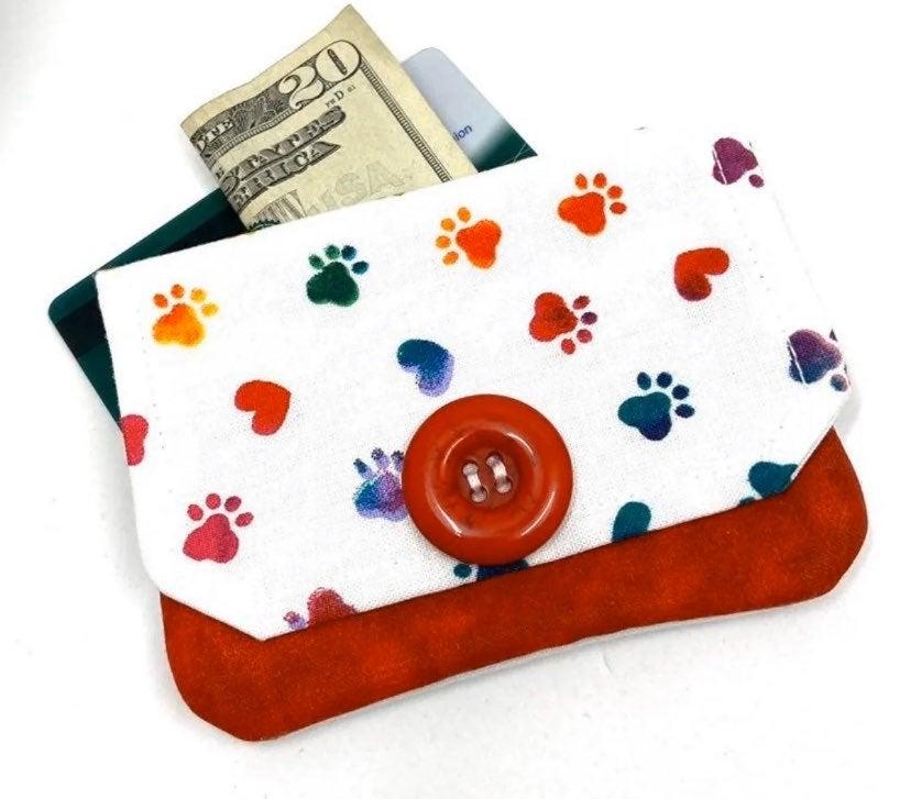 Paw Print Fabric Card Wallet-Handmade