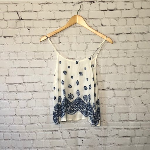 Forever21 Blue White Adjustable Pattern Tank Top