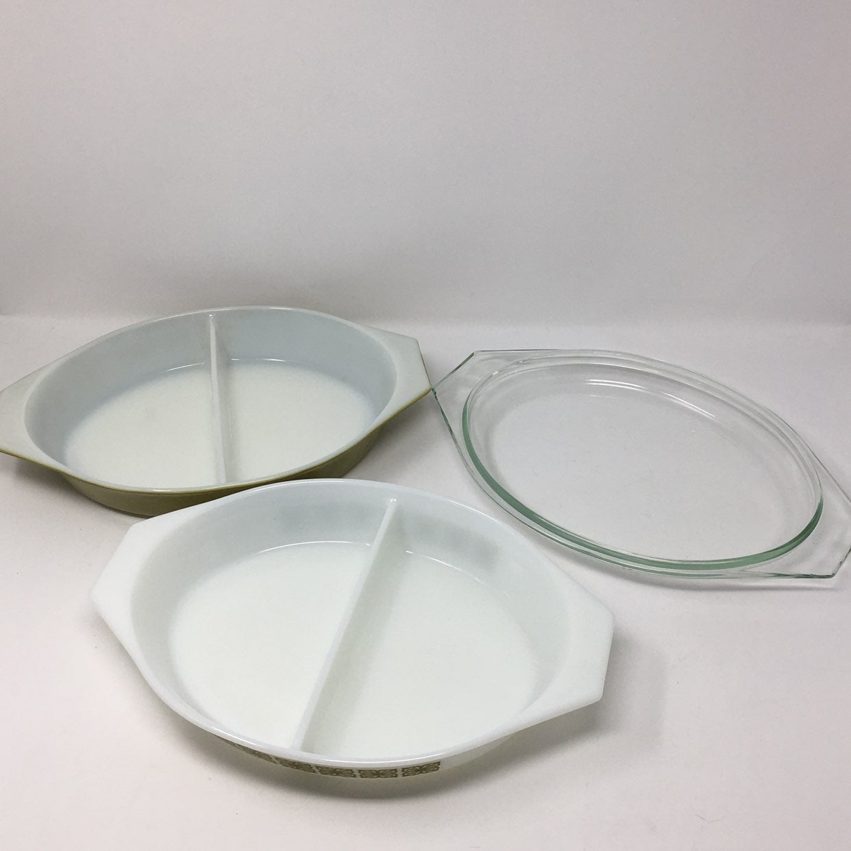 Pyrex Green Verde Divided Dishes Lid Lot