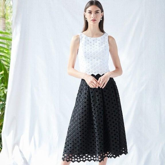 WHBM Black Lattice Full Skirt, 00